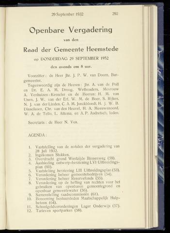 Raadsnotulen Heemstede 1932-09-29