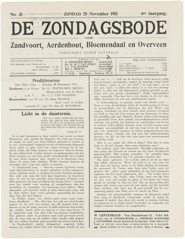 De Zondagsbode voor Zandvoort en Aerdenhout 1915-11-28