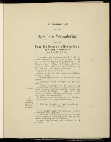 Raadsnotulen Heemstede 1921-02-25