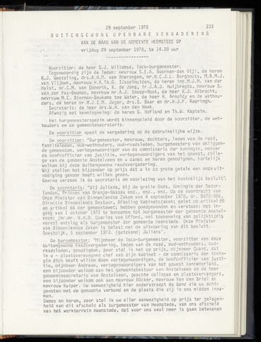 Raadsnotulen Heemstede 1978-09-29