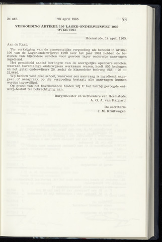 Raadsnotulen Heemstede 1965-04-28
