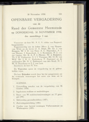 Raadsnotulen Heemstede 1950-11-30