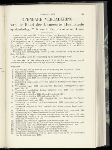 Raadsnotulen Heemstede 1958-02-27