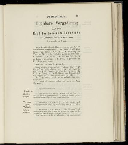 Raadsnotulen Heemstede 1924-03-20