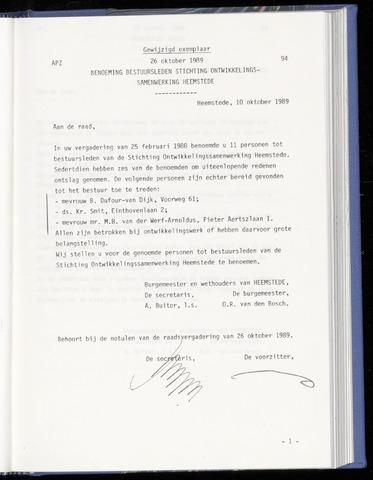 Raadsnotulen Heemstede 1989-10-26