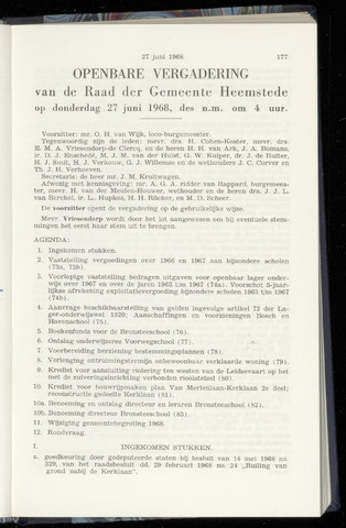 Raadsnotulen Heemstede 1968-06-27