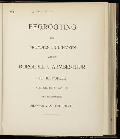 Raadsnotulen Heemstede 1921-12-29