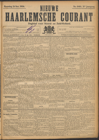 Nieuwe Haarlemsche Courant 1906-11-26