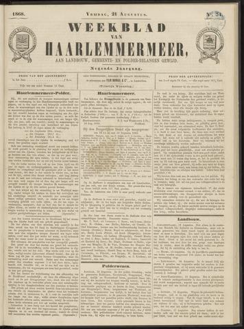 Weekblad van Haarlemmermeer 1868-08-21