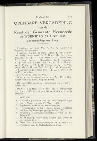 Raadsnotulen Heemstede 1951-04-25