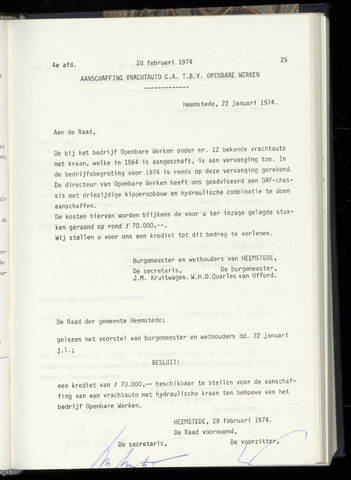 Raadsnotulen Heemstede 1974-02-28