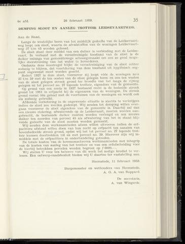 Raadsnotulen Heemstede 1959-02-26