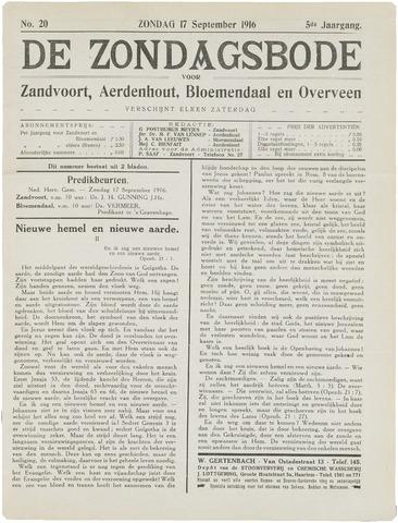 De Zondagsbode voor Zandvoort en Aerdenhout 1916-09-17