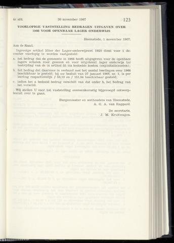 Raadsnotulen Heemstede 1967-11-30