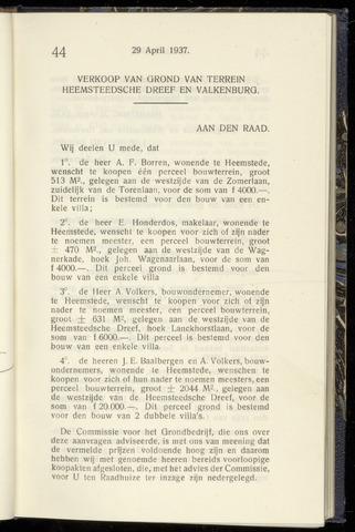 Raadsnotulen Heemstede 1937-04-29