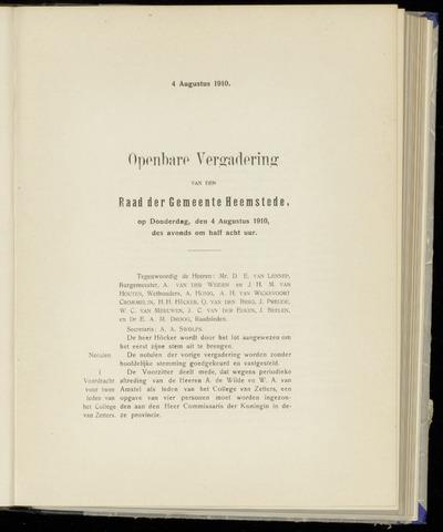 Raadsnotulen Heemstede 1910-08-04