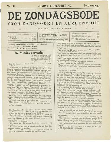 De Zondagsbode voor Zandvoort en Aerdenhout 1912-12-15