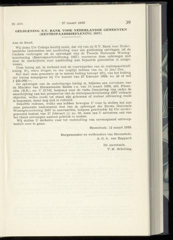 Raadsnotulen Heemstede 1958-03-27