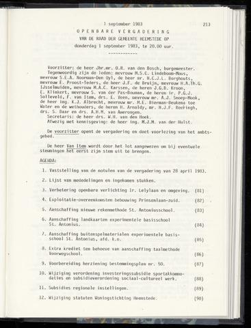 Raadsnotulen Heemstede 1983-09-01