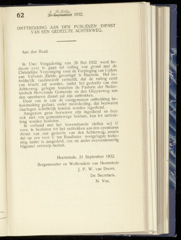 Raadsnotulen Heemstede 1932-10-06