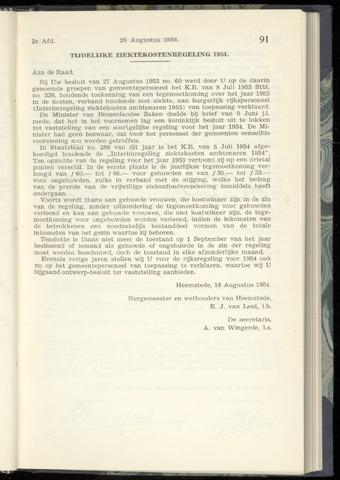 Raadsnotulen Heemstede 1954-08-26