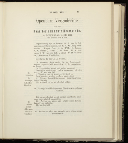 Raadsnotulen Heemstede 1922-05-18