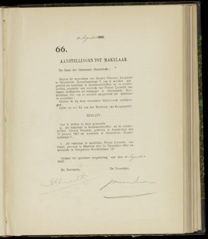 Raadsnotulen Heemstede 1920-08-10