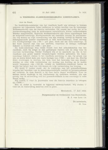 Raadsnotulen Heemstede 1952-07-31