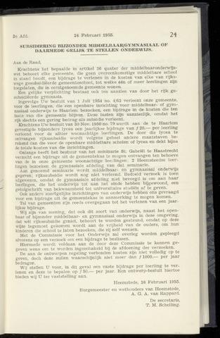 Raadsnotulen Heemstede 1955-02-24