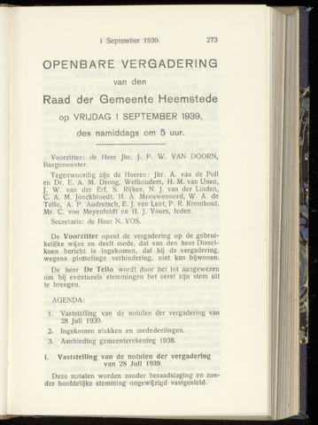 Raadsnotulen Heemstede 1939-09-01