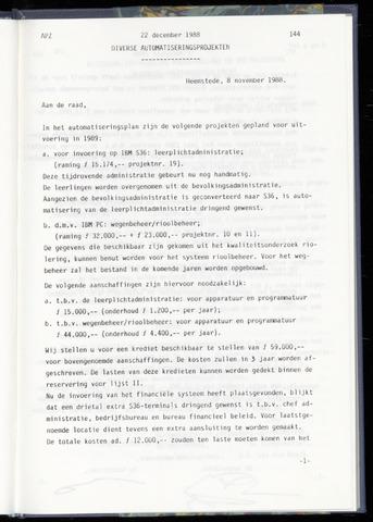 Raadsnotulen Heemstede 1988-12-22