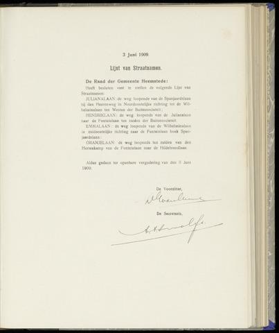 Raadsnotulen Heemstede 1909-06-03