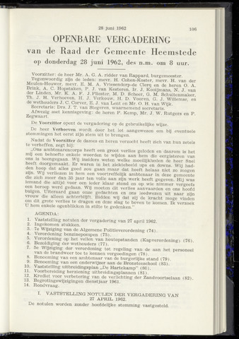 Raadsnotulen Heemstede 1962-06-28