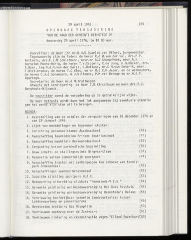 Raadsnotulen Heemstede 1976-04-29