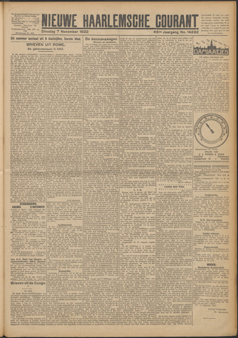 Nieuwe Haarlemsche Courant 1922-11-07