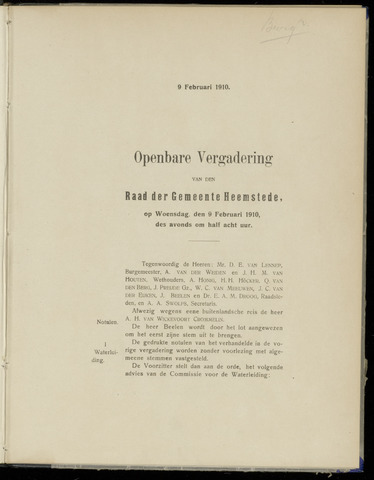 Raadsnotulen Heemstede 1910-02-09