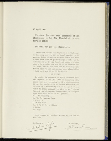 Raadsnotulen Heemstede 1909-04-15