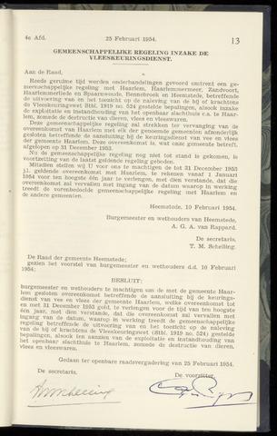 Raadsnotulen Heemstede 1954-02-25