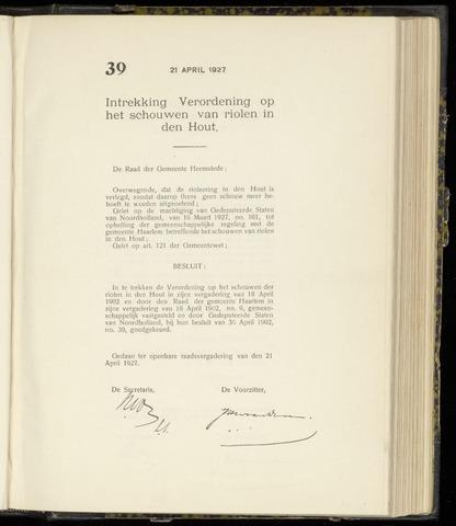 Raadsnotulen Heemstede 1927-04-21