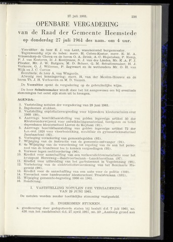 Raadsnotulen Heemstede 1961-07-27