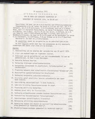 Raadsnotulen Heemstede 1976-08-26