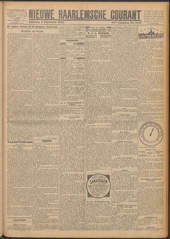 Nieuwe Haarlemsche Courant 1922-12-09