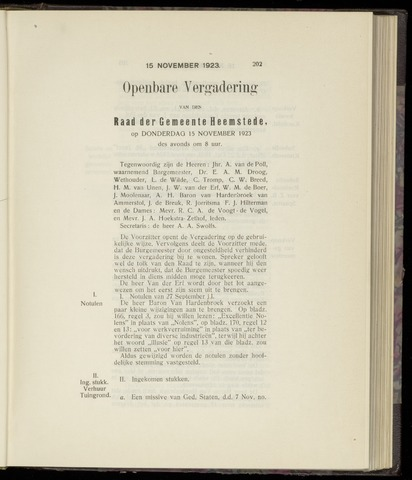 Raadsnotulen Heemstede 1923-11-15