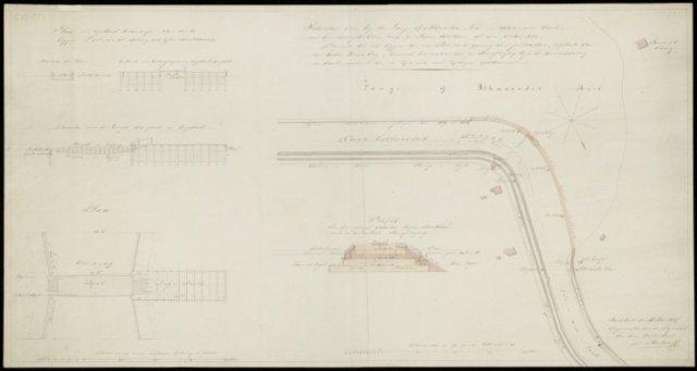 Situatie van bij het Lange- of Alkmaarder meer en Schermervaart, met den doorgetrokken wordende rijzen dam tot den vasten wal. Dienende tot het leggen van een pont in de opening van den dam, in plaats van een houten draaibrug, benevens het maken van een s Zuid-Zuid-West boven. Kleur met profielen