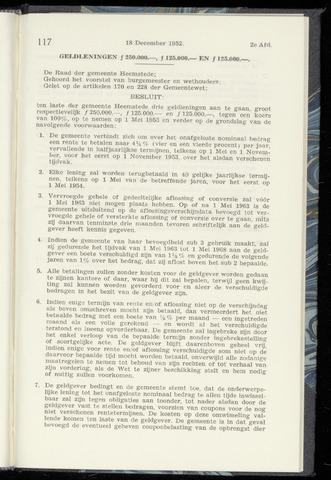 Raadsnotulen Heemstede 1952-12-18