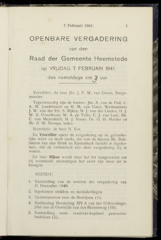 Raadsnotulen Heemstede 1941-02-07