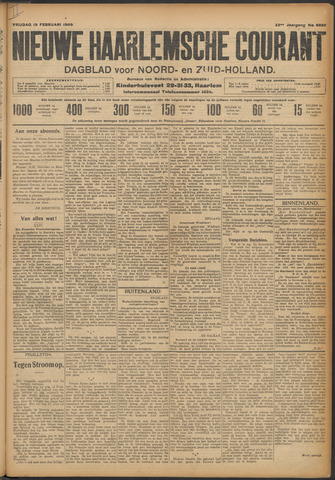 Nieuwe Haarlemsche Courant 1909-02-19