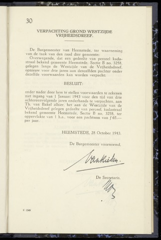 Raadsnotulen Heemstede 1943-10-28