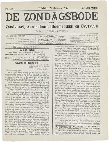 De Zondagsbode voor Zandvoort en Aerdenhout 1916-10-29