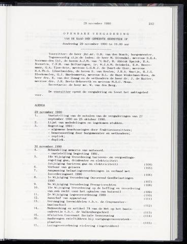 Raadsnotulen Heemstede 1990-11-29